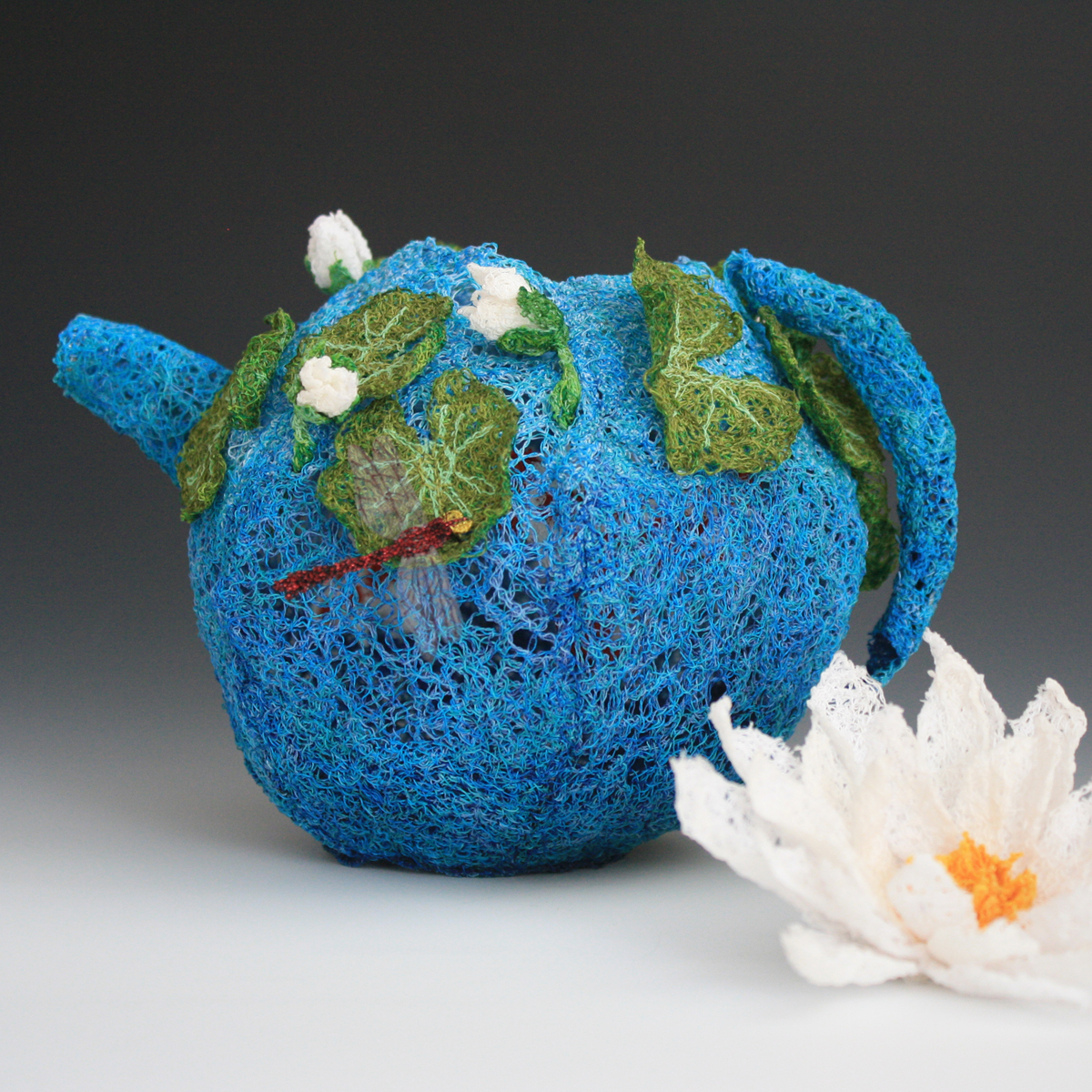 Doughty Designs thread sculpture blue teapot