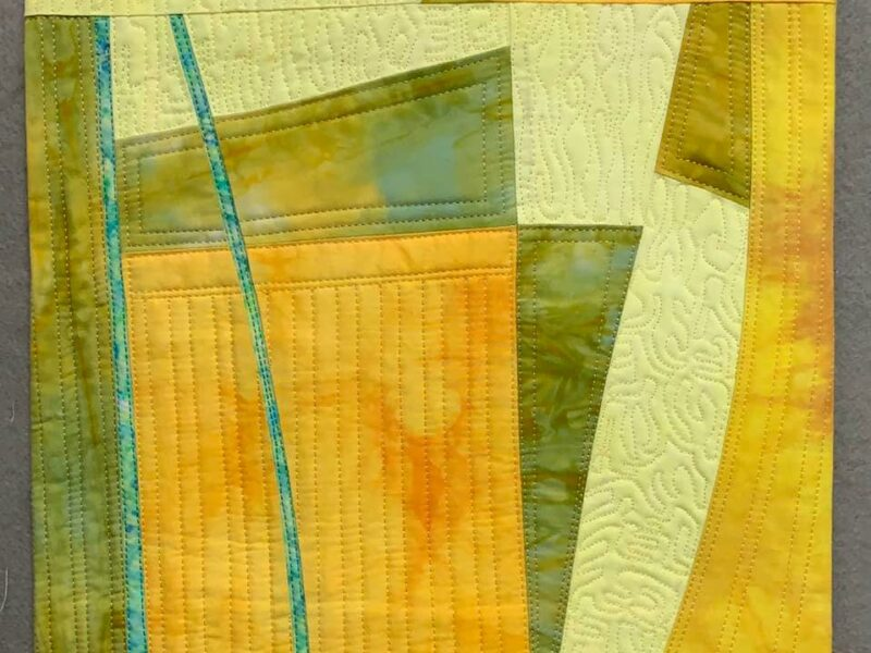Art Quilt by Floris Flam, yellow abstract